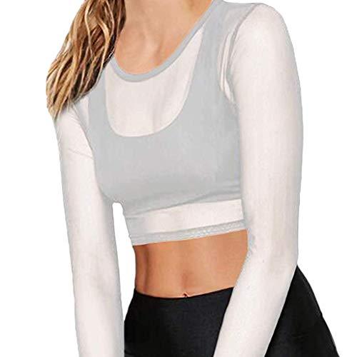 Briskorry dames chiffon blouse zwart kanten lange mouwen blouse kort hemd bustier top T-shirts voor vrouwen sexy doorzichtige blouse effen netto top