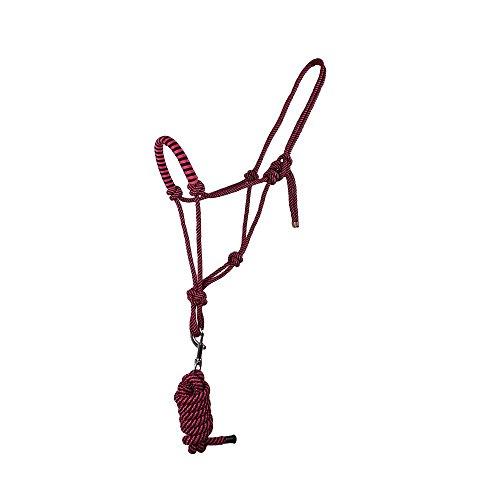 Knotenhalfter mit Strick für Bodenarbeit in tollen Farben Pony, Cob, Full, Groesse:COB, Farbe:dunkelrosa - 2