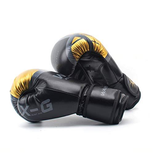 XUEE Boxhandschuhe - Leder Trainingshandschuhe - Für Boxsack, Pads, Sparring 8Oz, 1Oz, 12Oz,Schwarz,8oz