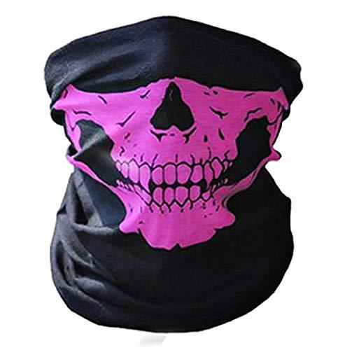 EVRYLON Crneo de pasamontaas Mscara Media cara Disfraz Motociclista Ciclista Deporte Carnaval Talla nica Color rosa Halloween Horror Cosplay