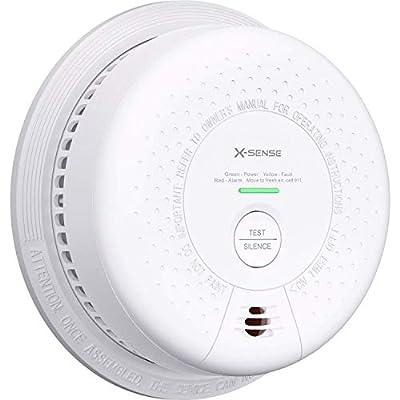 X-Sense 10-Year Battery (Not Hardwired) Combination Smoke and Carbon Monoxide Detector Alarm, Dual Sensor Smoke CO Alarm Complies with UL 217 & UL 2034 Standards, Auto-Check, SC03