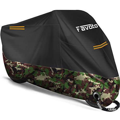 Favoto Telo Coprimoto 210D Teli per Moto Scooter Impermeabile Resistente ad Acqua Polvere Pioggia Vento Foglie, Copertura Motociclo (Nero Camuffare, 245x105x125cm)