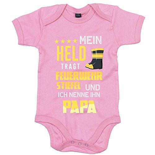 Feuerwehrmann Premium Babybody Berufe Follow Your Dreams Traumberuf Mädchen Kurzarmbody, Farbe:Rosa (Bubble Gum Pink BZ10);Größe:6-12 Monate