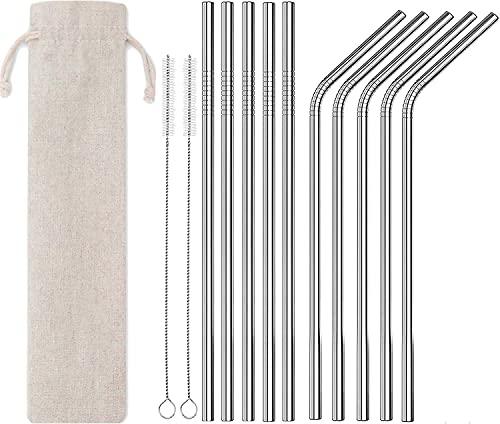 NS 10Piezas pajitas de Acero Inoxidable, Reutilizables pajitas de Metal dobladas y Rectas con 2 cepillos de Limpieza