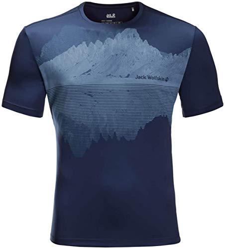 Jack Wolfskin Herren Peak Graphic T-Shirt, Dark Indigo, L