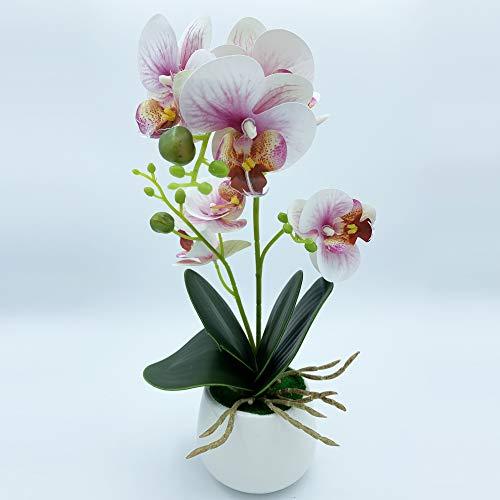 Wellhome Planta de orquidea con Tacto Natural Color Maceta de Ceramica, Rosa 42 Cm, Unitario
