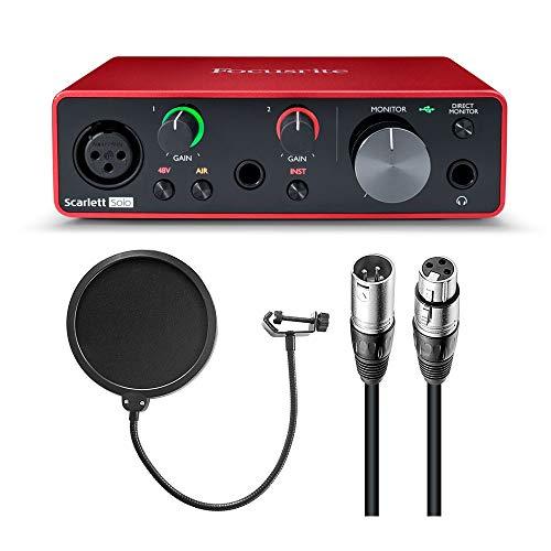 Focusrite Scarlett Solo - Interfaz de audio USB (3ª generación) con filtro pop y cable XLR-XLR