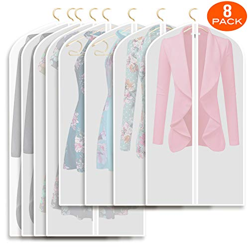 Refrze Moth Proof Garment Bags,Garment Cover,8 Pack Clear Garment Bags,Hanging Garment Bag, Dress Garment Bags for Storage or for Travel,Breathable Dust and Waterproof Garment Covers Clear 43 and 50 i
