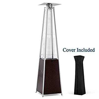 PAMAPIC Patio Heater, 42,000 BTU Quartz Glass Tube Hammered Bronze Tower Propane Outdoor Heater with Cover