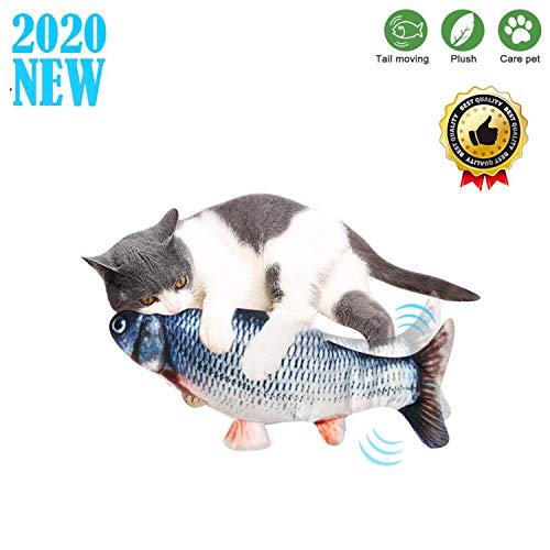 Sunshine smile Simulation Elektrischer Puppenfisch Realistischer Plüsch Wagging Fisch Katze Interaktives Spielzeug (A)