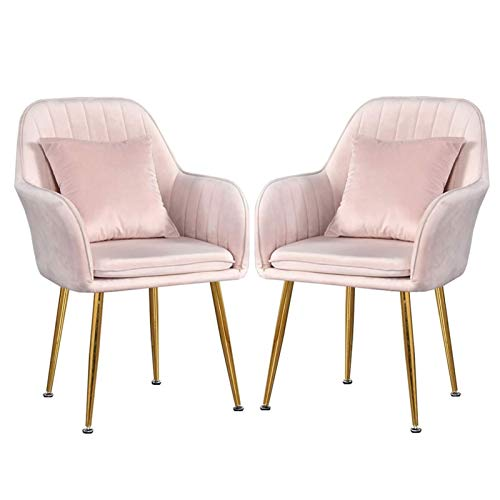 2PCS Dining Chairs Modern Dining Room Living Room Bedroom Kitchen Lounge Side Chair Arms & Back Support Metal Legs Velvet Dining Chair (Color : Pink)
