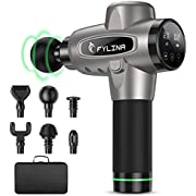 Massage Gun, FYLINA Muscle Massage Gun Deep Tissue Percussion Massager, Ultra-Quiet 20 Speed Handheld Muscle Massager with 6 Heads and LCD Display, for Athletes Pain Relief