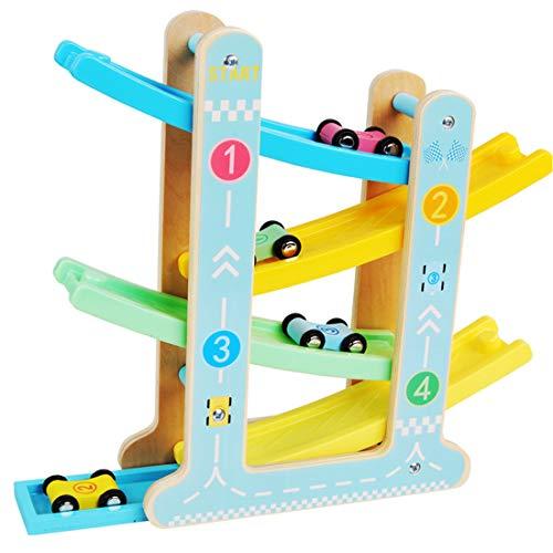 DRAKE18 Holzrampe Spielzeugauto-Rennspiel für Kleinkinder Frühpädagogische Spielsets mit 4-Level-Bahn & Parkplatz 4 Rennwagen-Geschenkkinder