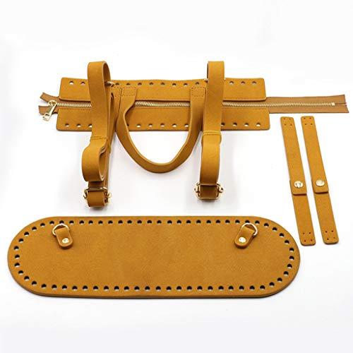 Xzbnwuviei 4 unids/set DIY bolsa hecha a mano ganchillo bolso accesorios cuero artificial cremallera tira bolsa inferior hombro correa