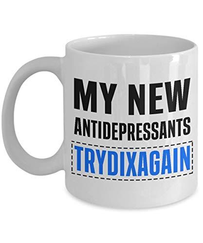 NA Homoseksueel koffiemok grappig woordspel zegen citaten Hillarious mannen paren geschenk mijn nieuwe antidepressiva Trydixagain