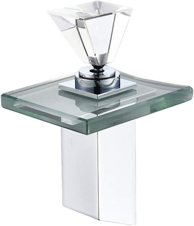JONTON LED light Waterfall Faucet Bathroom Sink Basin Taps mixer vessel chrome brushed Faucets handles battery deck mounted