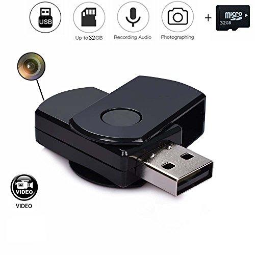 codomoxo Llavero Llave USB con Mini cámara espía HD DETECCIÓN DE MOVIMIENTO infrarrojo llave USB retráctil MICRO Video Grabadora con sonido, 32 gb