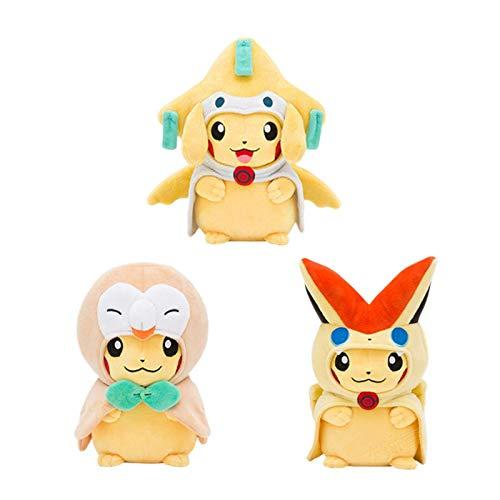 LANZZ 3 Unids / Set Anime Pokemon Kawaii Cosplay Abrigo Pikachued Muñeco De Peluche Jirachi Rowlet Victini Juguete De Peluche para Niños 20Cm