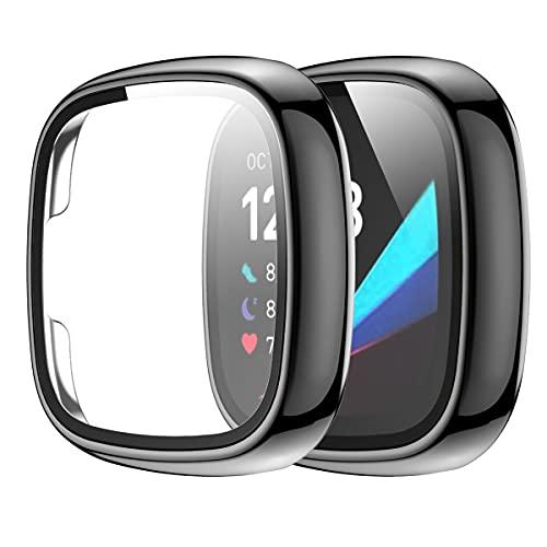 Wiki VALLEY Schutzhülle für Fitbit Versa 3, 2er Pack Weiche, ultradünne TPU Bildschirmschutzhülle,Volldeckende Schutzfolie Kompatibel mit Versa Sense - Schwarz
