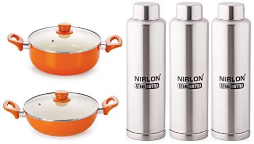 NIRLON Ceramic Non Stick Induction Cookware Aluminium Pots and Pans Set with Glass Lid- 2 Pieces (Orange)