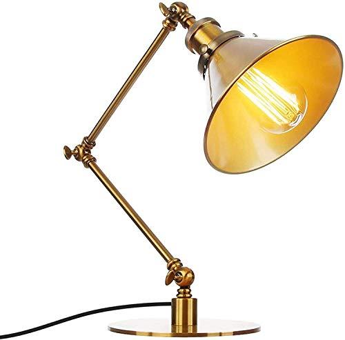 N\A ZGGYA Lámpara De Mesa Industrial E27, Lámpara De Mesa Ajustable De Diseñador, Lámpara De Mesa De Metal En La Sala De Lectura del Estudio, Lámpara De Lectura Dorada, Protección Ocular De Luz Suave