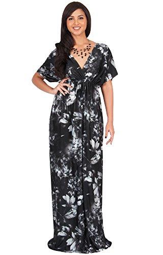 KOH KOH Women Long Floral Print Kimono Short Sleeve V-Neck Summer Casual Boho Bohemian Flower Hawaiian Sundress Sun Gown Gowns Maxi Dress Dresses, Black & Gray M 8-10