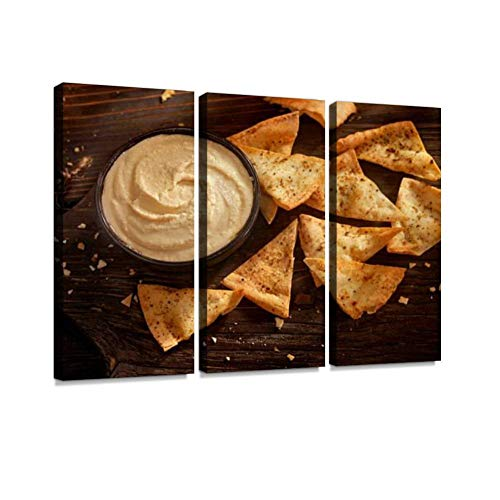 BELISIIS Hummus with Baked Pita Chips Wall Artwork Exclusive Photography Vintage Abstract Paintings Print on Canvas Home Decor Wall Art 3 Panels Framed Ready to Hang