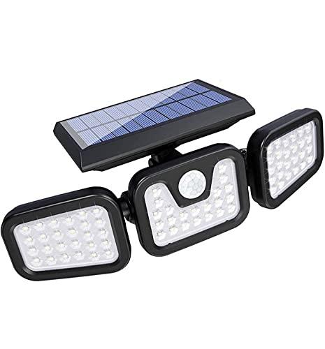 ソーラーライト 屋外人感センサーライト 3面発光 74 LED 高輝度 3灯式 IP65防水 2400mAh電池内蔵 電気代不要 360°角度調整可 自動点灯消灯 防犯ライト 玄関/駐車場/車道/歩道/芝生/庭 屋外照明用