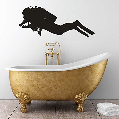 Scuba Diver vinilo adhesivo para pared deportes extremos decoración del hogar mar buceo gente pared calcomanía snorkel pared arte cartel decoración del hogar pegatina A2 100x42cm