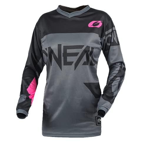 O'NEAL | Motocross-Shirt Langarm | MTB MX Mountainbike | Gepolsterter Ellbogenschutz, Atmungsaktiv, V-Ausschnitt | Women's Element Jersey Racewear | Damen | Grau Pink | Größe S