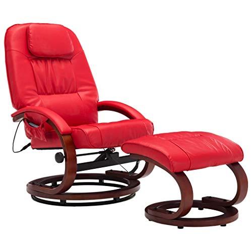 vidaXL Massagesessel mit Fußhocker Hocker Wärmefunktion Relaxsessel Fernsehsessel TV Sessel Liegesessel Ruhesessel Bürosessel Rot Kunstleder