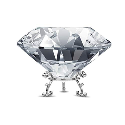 ADWIKOSO Large Crystal Diamond Paperweight with Stand Jewels Wedding Decorations Centerpieces Home Decor (3.93 inch)