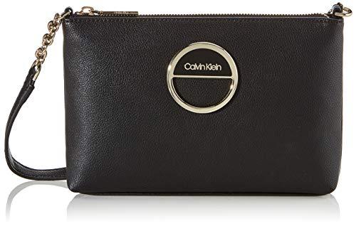 Calvin Klein Damen Disc Ew Crossbody Umhängetasche, Schwarz (Black), 1x1x1 cm
