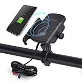 iMESTOU Motorcycle Wireless Charger Phone Mount Waterproof Handlebar Qi Charging Phone Holder 360 Rotatable Work with 12V/24V Vehicles