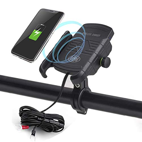 iMESTOU Motorcycle Wireless Charger Phone Mount Waterproof Handlebar Qi Charging Phone Holder 360...