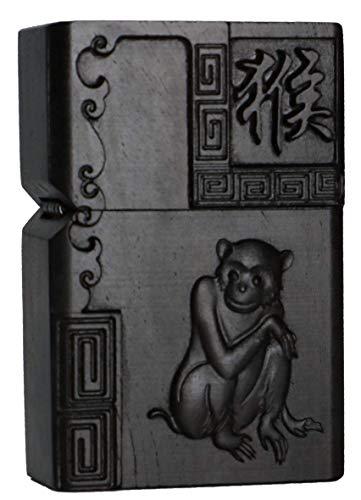 Natural Ebony Black Wood Carved Lighter Shell Box For Zippo Module (Zodiac Monkey)
