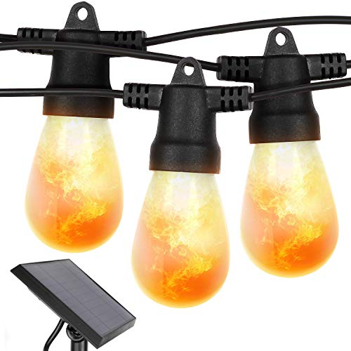 Brightech Ambience Pro with Flaming Bulbs - Outdoor LED Solar String Lights - 27 Ft Commercial Grade Waterproof Patio Lights Create Cafe Ambience On Your Porch, Deck