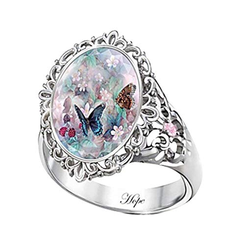Richo Retro Spirit Hope Ring for Women, Cubic Zirconia Purple Butterfly Statement Party Ring for Cocktail Party