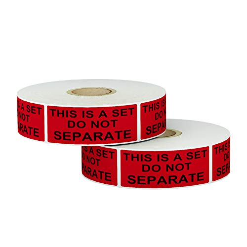 AveneMark 2000 Labels 1'x 2' Packing Labels - This is a Set Do Not Separate - FBA Red Warning Stickers for Moving and Shipping(2 Rolls)