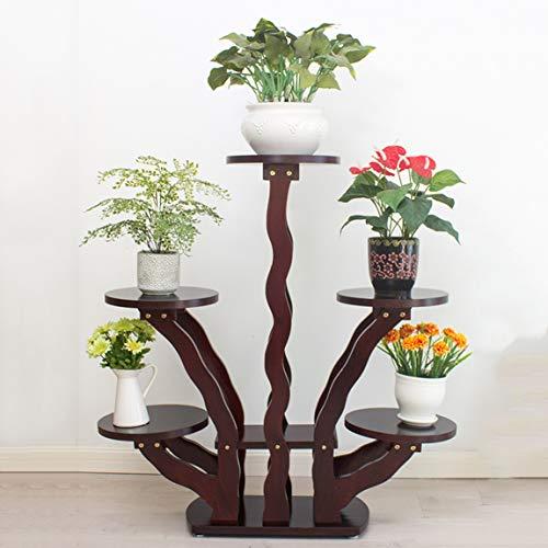 HLQW Estante para flores de madera, sala de estar, balcón, piso, decoración de varios pisos, clorofito de estilo europeo, flor verde, estante para flores y estante para flores, 5 capas de negro marrón