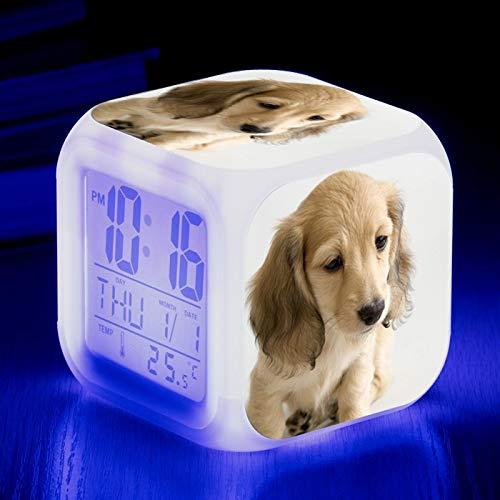 Totots Anime Square Reloj de alarma Dachshund, Reloj de alarma de cambio de color colorido creativo para mamíferos, Reloj de alarma para el hogar para personas perezosas, impresión de perezosos Pequeñ