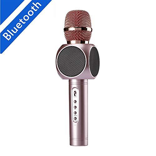Karaoke-microfoon, draadloos, draagbaar, karaoke-speler, 2-in-1 ingebouwde Bluetooth-luidspreker voor muziekweergave, mini KTV karaoke voor iPhone, Android mobiele telefoons en tablets yellow