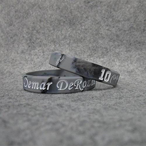 XIXI Spurs Basketball-Star No. 10 Dema. DeRozan Unterschrift Sportfans Schmuck Armband Silikon-Armbänder (Color : Color in, Size : 19CM)