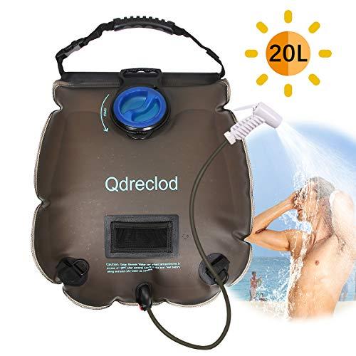 Qdreclod Campingdusche Solardusche Tasche, 20L Tragbare Solar Gartendusche Outdoor Warmwasser Dusche Reisedusche mit Thermometer, EIN/aus schaltbarem Duschkopf, Kapazitätsmarkierung