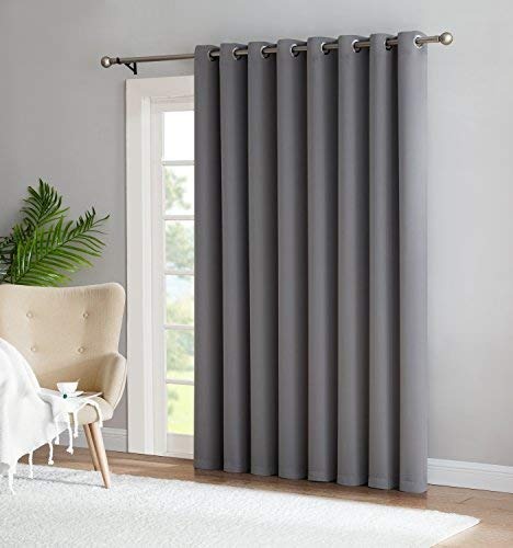 Nicole - 1 Patio Extra Wide Premium Thermal Insulated Blackout Curtain Panel - 16 Grommets - 102 Inch Wide - 84 Inch Long - Ideal for Sliding and Patio Doors (1 Panel 102 x 84, Light Grey)