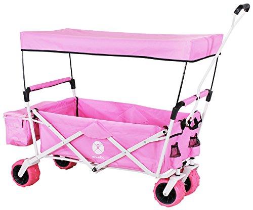 Miweba Faltbarer Bollerwagen MB-10 für Kinder - Bremse - Dach - PU-Breitreifen - Transporttasche - Klappbar - UV-Beständig – Handwagen faltbar (Pink)