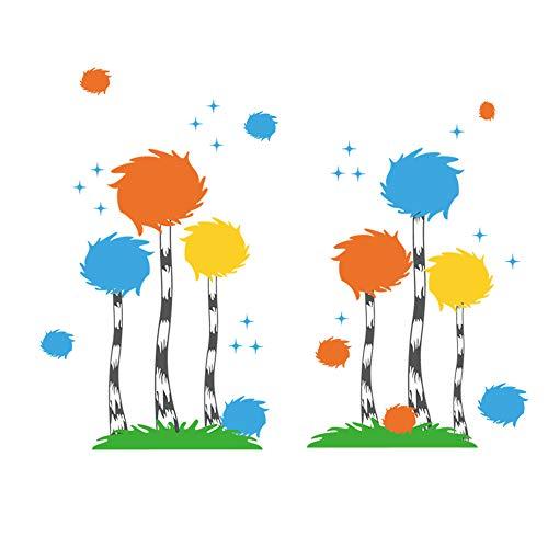 decalmile Wandtattoo Baumwolle Ball Bäume Wandsticker Grünes Gras Wandaufkleber Kinderzimmer Schlafzimmer Babyzimmer Wohnzimmer Wanddekoration