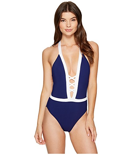 LAUREN RALPH LAUREN Women's Spectator Lattice Front One-Piece (Navy, 12)