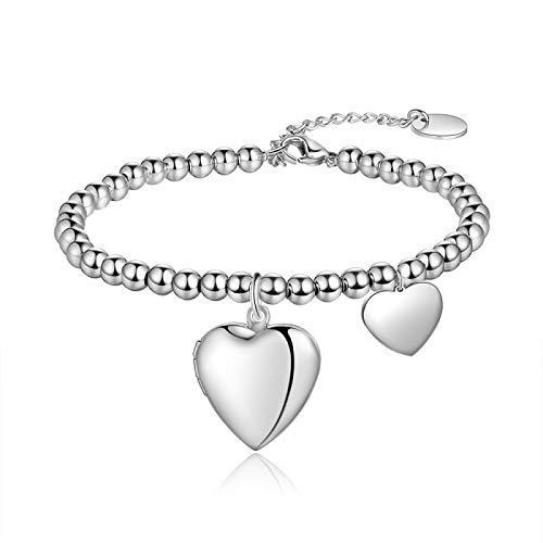 ShSnnwrl Estilo clásico Corazón Locket Pulseras con Cuentas Nombre Personalizado Grabado Pulseras Y Brazaletes