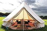 Beige Cotton Canvas, Waterproof PU Coating Bell Tent yurt Tent with a Zipper